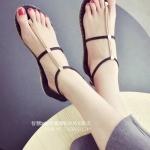 รองเท้าแตะผู้หญิงสีดำ ส้นแบน รัดส้น สไตล์โรมัน แนววินเทจ ดูดี แฟชั่นเกาหลี