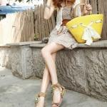 รองเท้าแตะผู้หญิงสีเหลือง รัดส้น แบบสวม ประดับลูกปัด สไตล์โบฮีเมี่ยน ส้นแบน แฟชั่นเกาหลี
