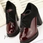รองเท้าส้นสูงแฟชั่น สีดำ หนังแก้ว แต่งส้นกำมะหยี่