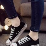 รองเท้าผ้าใบผู้หญิงสีดำ ร้อยเชือก ทรงคลาสสิค ฮิตตลอดกาล แฟชั่นเกาหลี