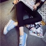 รองเท้าผ้าใบแฟชั่นผู้หญิงสีม่วง ทรงคลาสิค ยอดนิยม ฮิตตลอดกาล แบบเชือกผูก แฟชั่นเกาหลี