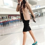 รองเท้าผู้หญิงส้นแบนสีเขียว หุ้มส้น หัวแหลม ลายริบบิ้นสาน วัสดุผ้า แฟชั่นเกาหลี