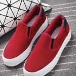 รองเท้าผ้าใบส้นตึกสีแดง พื้นสีขาว หัวกลม โชว์รอบตะเข็บเย็บ แบบสวม เรียบง่าย ดูดี ทันสมัย แฟชั่นเกาหลี