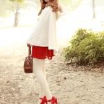 รองเท้าส้นสูงสีแดง หุ้มส้น รุ่นไนท์คลับ มีเข็มขัดรัดข้อเท้า ส้นสูง15.5cm พื้นหนา6cm สวยสง่า ไฮโซ แฟชั่นเกาหลี