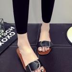 รองเท้าแตะผู้หญิงสีดำ หัวเข็มขัด แบบสวม แนววินเทจ แฟชั่นเกาหลี