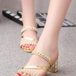 รองเท้าส้นสูงสีทอง แบบส้นหนา เปิดส้น Rhinestones สวยไฮโซ เซ็กวี่มากมาย แฟชั่นเกาหลี
