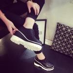 รองเท้าคัทชูผู้หญิงสีดำ พื้นหนา สไตล์ยย้อนยุค แนววินเทจ ส้นสูง8.5ซม. แฟชั่นเกาหลี