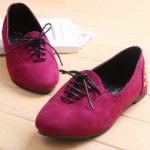 รองเท้าส้นแบนแฟชั่นสีแดง หนังนิ่ม แบบเชือกผูก สไตล์หวาน น่ารัก แฟชั่นเกาหลี