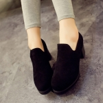รองเท้าคัตชูผู้หญิงสีดำ แบบสวม หนังกำมะหยี่ ส้นหนา แฟชั่นยุโรป