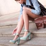 รองเท้าคัทชูส้นสูงสีม่วง หัวกลม เข็มขัดรัดข้อเท้าประดับโบว์ ส้นสูง10cm หวานหวาน แนวเจ้าหญิง แฟชั่นเกาหลี