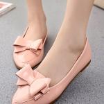 รองเท้าคัทชูส้นแบนสีชมพู หัวแหลม แต่งโบว์ ทรงอาซาคุจิ สไตล์หวาน น่ารัก แฟชั่นเกาหลี