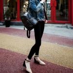 รองเท้าส้นสูงสีดำ ทูโทน รัดส้น หัวแหลม เข็มขัดรัดส้น ส้นสูง4cm แบบส้นหนา แนวหวาน แฟชั่นเกาหลี