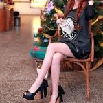 รองเท้าส้นเตารีดสีดำ หุ้มส้น ทูโทน หัวปลา ประดับโบว์หลังส้นเท้า ส้นสูง11cm พื้นหนา3cm แฟชั่นเกาหลี