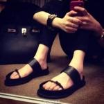 รองเท้าแตะผู้หญิงสีดำ ทรงโรมัน โชว์นิ้วเท้า รัดหลังเท้า พื้นหนา