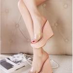 รองเท้าส้นเตารีดทรงมัฟฟิน แบบสวม เปิดส้น (สีชมพู)