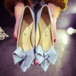 รองเท้าส้นสูงสีฟ้า หัวแหลม ประดับโบว์ ส้นสูง7.5 แฟชั่นเกาหลี