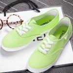รองเท้าผ้าใบแฟชั่นผู้หญิงสีเขียว พื้นขาว ส้นเตี้ย แบบเชือกผูก น่ารัก ทรงทันสมัย แฟชั่นเกาหลี