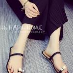รองเท้าแตะผู้หญิงสีดำ ส้นแบน หัวมุกใหญ่ rhinestone ดูดี แฟชั่นเกาหลี