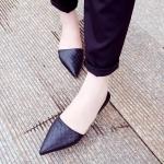 รองเท้าเปิดส้นหญิงสีดำ หัวแหลม ลายหนังงู ส้นเตี้ย เจ้าหญิง แฟชั่นยุโรป