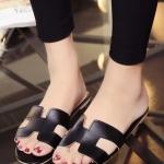 รองเท้าแตะผู้หญิงสีดำ เปิดส้น แบบสวม H สวมใส่สบาย ทรงยอดฮิต แฟชั่นเกาหลี