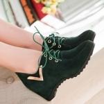 รองเท้าแฟชั่นผ้าใบผู้หญิงสีดำ ส้นหนา วัสดุPU แบบเชือกผูก ส้นหนา5cm แฟชั่นเกาหลี