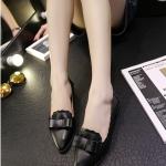 รองเท้าคัทชูส้นแบนสีดำ หัวแหลม แต่งโบว์ ขอบลอน แบบสวม แนวหวาน ทรงสุภาพ ใส่ทำงาน แฟชั่นเกาหลี