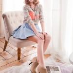 รองเท้าบู๊ทส้นสูงสีแอปริคอท หัวกลม ซิปข้าง สวยเรียบ ด้านในบุผ้า สวมใส่สบาย แฟชั่นเกาหลี