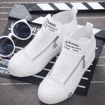 รองเท้าผ้าใบแฟชั่นเกาหลีสีขาว หุ้มข้อ แบบซิป ทรงทันสมัย น่ารัก แฟชั่นเกาหลี