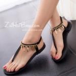 รองเท้าแตะผู้หญิงสีดำ ส้นแบน รัดส้น สไตล์โรมัน ดูดี แฟชั่นเกาหลี