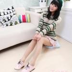 รองเท้าผ้าใบผู้หญิงสีชมพู หนังเรียบ หัวแหลม แบบเชือกผูก ส้นเตี้ย น่ารัก แฟชั่นเกาหลี