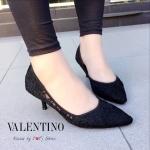 รองเท้าส้นสูงสีดำ แบบส้นแหลม ผ้าลูกไม้ ทรงสวย เท้าเรียว แฟชั่นเกาหลี