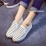 รองเท้าผ้าใบผู้หญิงสีขาว สลับดำ แบบสวม เรียบง่าย ทันสมัย ใส่ลำลอง แฟชั่นเกาหลี