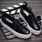 รองเท้าผ้าใบแฟชั่นเกาหลีสีดำ หนังเรียบ หัวกลม พื้นหนา แบบสวม น่ารัก ใส่ลำลอง