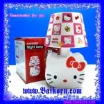 โคมไฟเจ้าแมว คิตตี้ ลวดลายโคมเป็นลายช่องแบบโบสีแดง ( Hello Kitty Night lamp ) โคมไฟแบบตั้งโต๊ะ ที่สามารถใช้พลังงานได้ 2 ระบบ