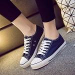 รองเท้าผ้าใบแฟชั่นผู้หญิงสีน้ำเงิน ทรงคลาสิค ยอดนิยม ฮิตตลอดกาล แบบเชือกผูก แฟชั่นเกาหลี