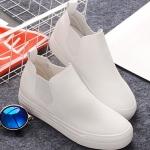 รองเท้าผ้าใบแฟชั่นผู้หญิงสีขาว หุ้มข้อ หนังPU แนววินเทจ เรียบง่าย ทันสมัย พื้นหนา3-5cm แฟชั่นเกาหลี