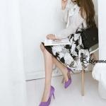 รองเท้าส้นสูงสีม่วง หุ้มส้น หัวแหลม แบบส้นเข้ม ส้นสูง10cm ทรงเจ้าหญิง แฟชั่นเกาหลี