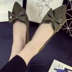 รองเท้าคัทชูผู้หญิงสีเขียว หัวแหลม ประดับโบว์ วัสดุพียู ใส่ทำงาน ทรงสุภาพ แฟชั่นเกาหลี
