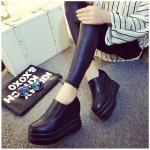 รองเท้าคัทชูผู้หญิงสีดำ ส้นเตารีด วัสดุหนัง ส้นสูง8.5ซม. แฟชั่นเกาหลี