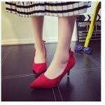 รองเท้าบูทส้นสูงสีแดง หัวแหลม วัสดุPU มีซิปหลังส้น ส้นสูง9ซม. เรียบง่าย มีสไตล์ แฟชั่นเกาหลี