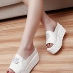 รองเท้าส้นตึกสีขาว แบบสวม เปิดส้น สไตล์หวาน แฟชั่นเกาหลี