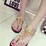 รองเท้าแตะผู้หญิงสีทอง แบบรัดส้น สายคาดแต่งดอกไม้สวยงาม ไฮโซ กำลังฮิต แฟชั่นเกาหลี