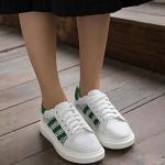 รองเท้าผ้าใบแฟชั่นสีขาว แถบเขียว ผผ้าตาข่าย ส้นหนา สวมใส่สบายเท้า ระบายอากาศได้ดี แฟชั่นเกาหลี