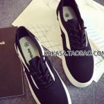 รองเท้าผ้าใบสีดำแถบขาว ลำลอง ทรงมัฟฟิน พื้นหนา แบบเชือกผูก ทรงทันสมัย สวมใส่สบาย แฟชั่นเกาหลี