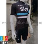 ชุดจักรยานแขนสั้น Sky 2016 สีดำคาดฟ้า