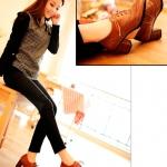 รองเท้าผ้าใบส้นสูงสีน้ำตาล วัสดุหนัง หัวแหลม ลายฉลุ ทรงOcford แบบเชือกผูก แนวย้อนยุค แฟชั่นเกาหลี