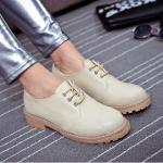 รองเท้าคัตชูหญิงสีขาว หนังแข็ง มีเชือกรัด ส้นหนา แฟชั่นเกาหลี
