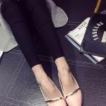 รองเท้าคัทชูส้นแบนสีชมพู หัวแหลม แต่งสายคาดสีทอง วัสดุพียู สไตล์หวาน น่ารัก ทรงสุภาพ แฟชั่นเกาหลี