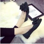 รองเท้าส้นแบนผู้หญิงสีเขียว หุ้มส้น หัวแหลม ประดับโบว์ใหญ่ ส้นสูง1ซม. แฟชั่นเกาหลี