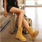 รองเท้าบู๊ตผู้หญิงสีเหลือง หนังเคลือบ หัวกลม ส้นแบน แฟชันเกาหลี ส้นสูง1cm